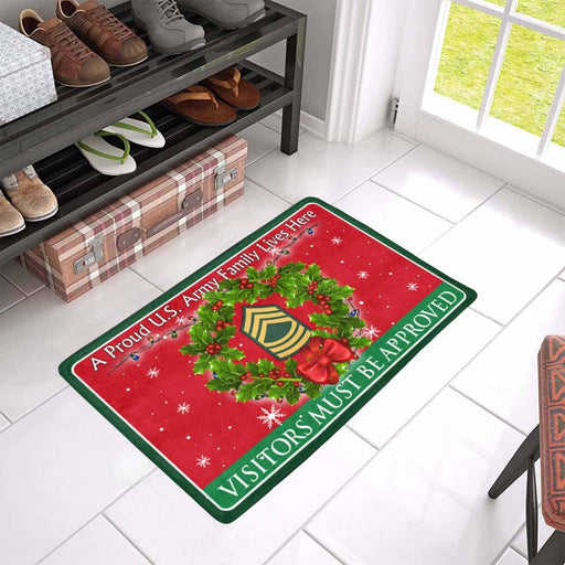 US Army E-8 Master Sergeant E8 MSG Noncommissioned Officer Ranks - Visitors must be approved Christmas Doormat