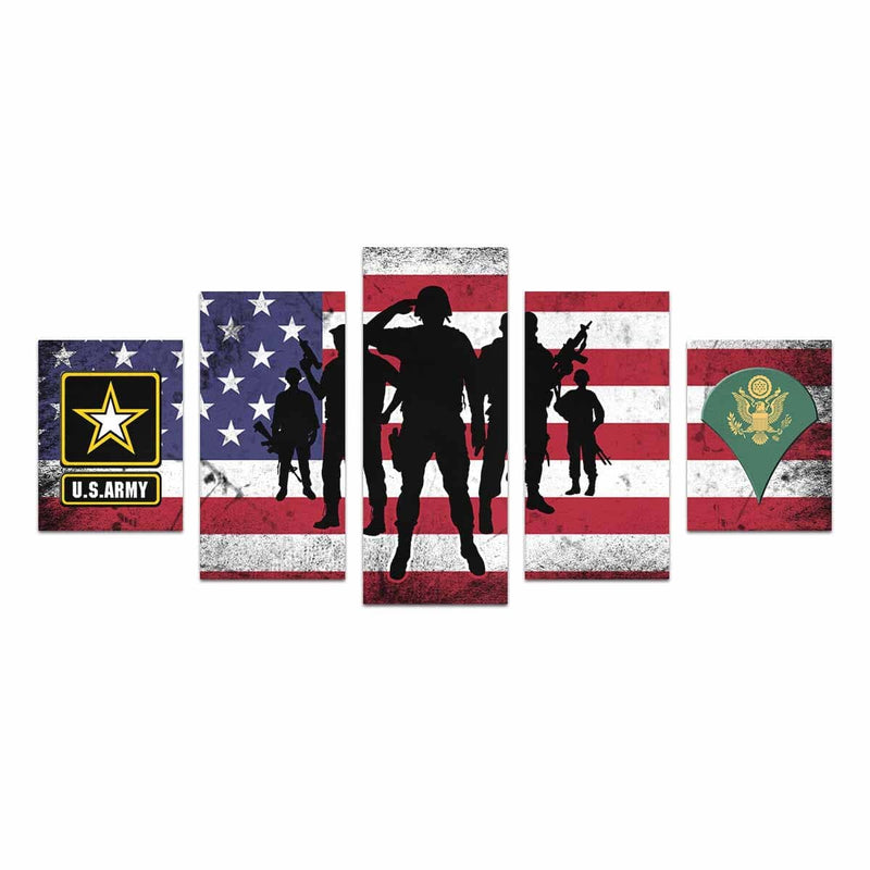 US Army E-4 SPC E4 SP4 Specialist 4 Specialist 3rd Class  Canvas Art Prints Set Z (5 Pieces) (Made In USA)