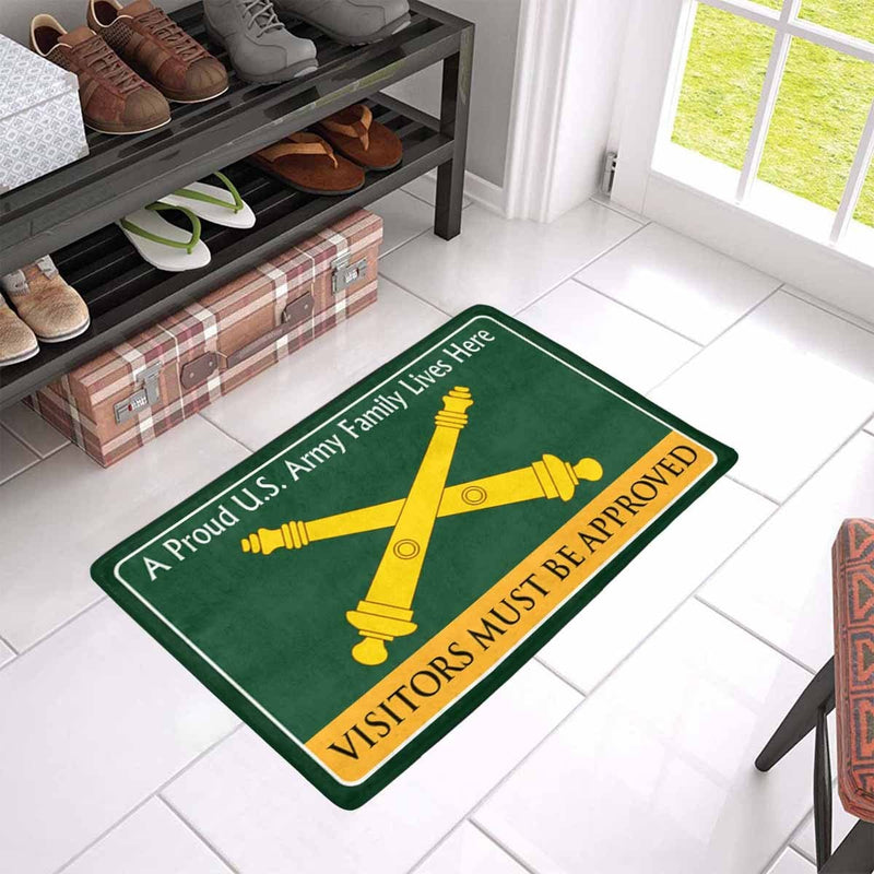 US Army Field Artillery Family Doormat - Visitors must be approved Doormat (23.6 inches x 15.7 inches)