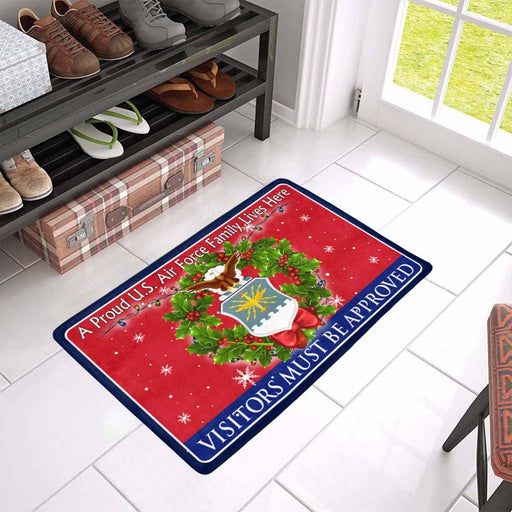 A Proud US Air Force Family Lives Here -Visitor must be approved -Christmas Doormat