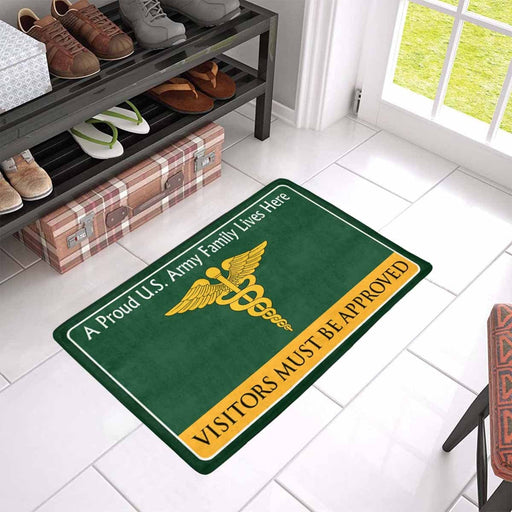 US Army Medical Corps Family Doormat - Visitors must be approved Doormat (23.6 inches x 15.7 inches)