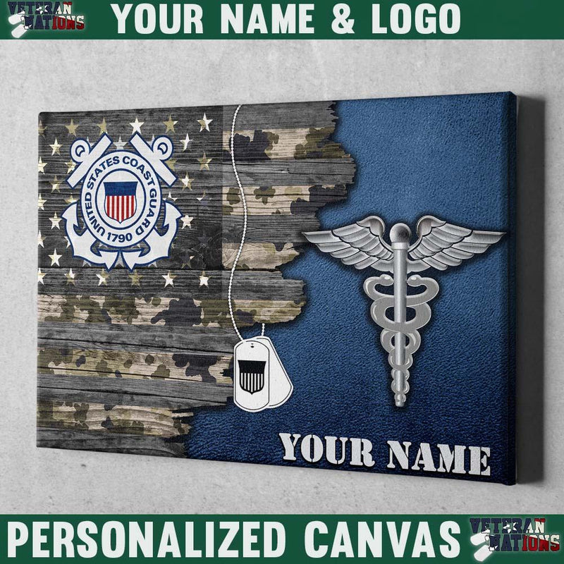 Personalized Canvas - U.S Coast Guard Rate - Personalized Name and Logo
