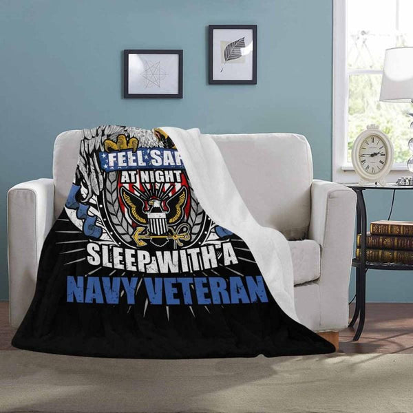 Feel Safe At Night Sleep With A Navy Veteran Sherpa Blanket - 50x60
