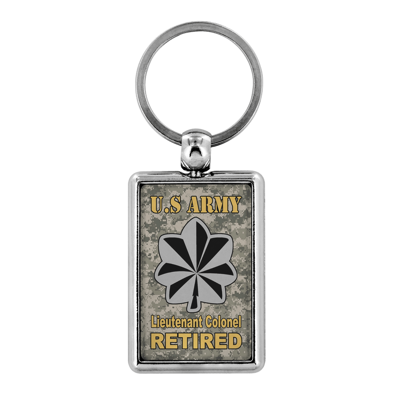 US Army O-5 Lieutenant Colonel O5 LTC Field Officer Enlisted Veteran Retired Keychain