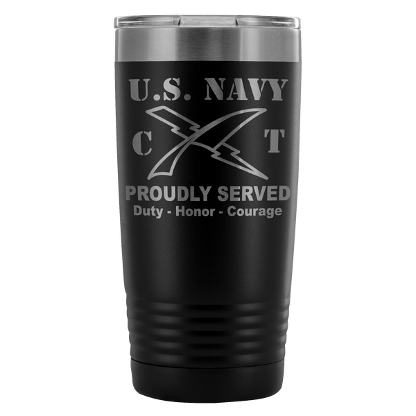 U.S Navy Cryptologic Technician Navy CT Proudly Served - 20 Oz Ounce Vacuum Tumbler
