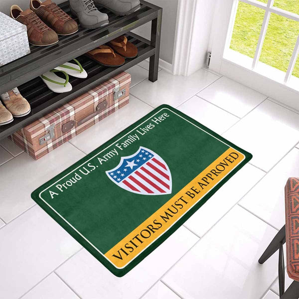 US Army Adjutant General Family Doormat - Visitors must be approved Doormat (23.6 inches x 15.7 inches)