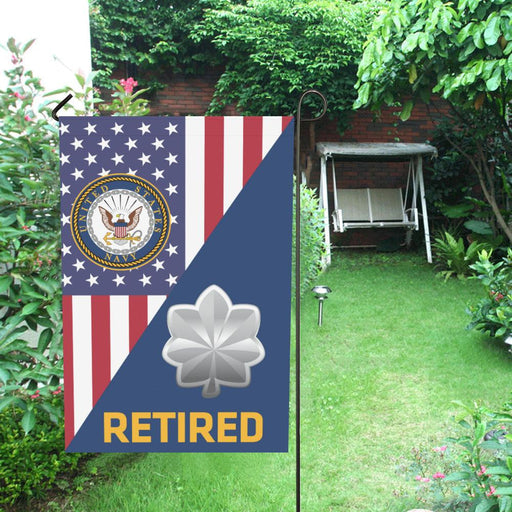 US Navy O-5 Commander O5 CDR Senior Officer Retired Garden Flag/Yard Flag 12 inches x 18 inches Twin-Side Printing