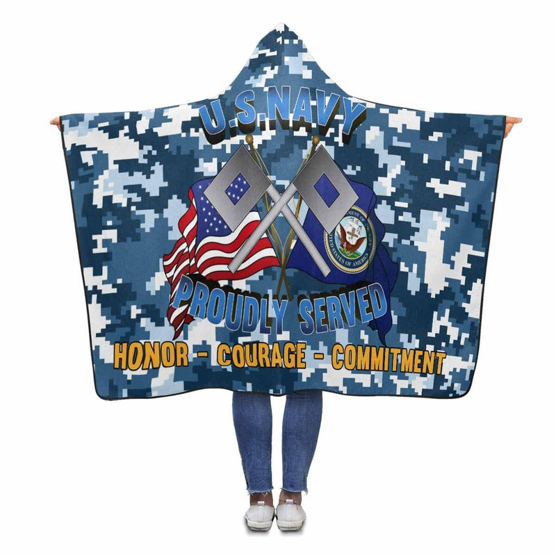 U.S Navy Signalman Navy SN Proudly Served Hooded Blanket