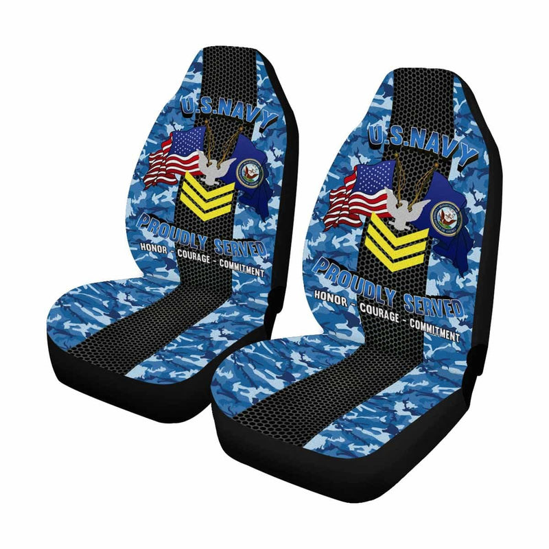 US Navy E-6 Petty Officer First Class E6 PO1 Gold Stripe Collar Device Car Seat Covers (Set of 2)