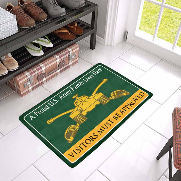 U.S Army Armor Branch Family Doormat - Visitors must be approved (23.6 inches x 15.7 inches)
