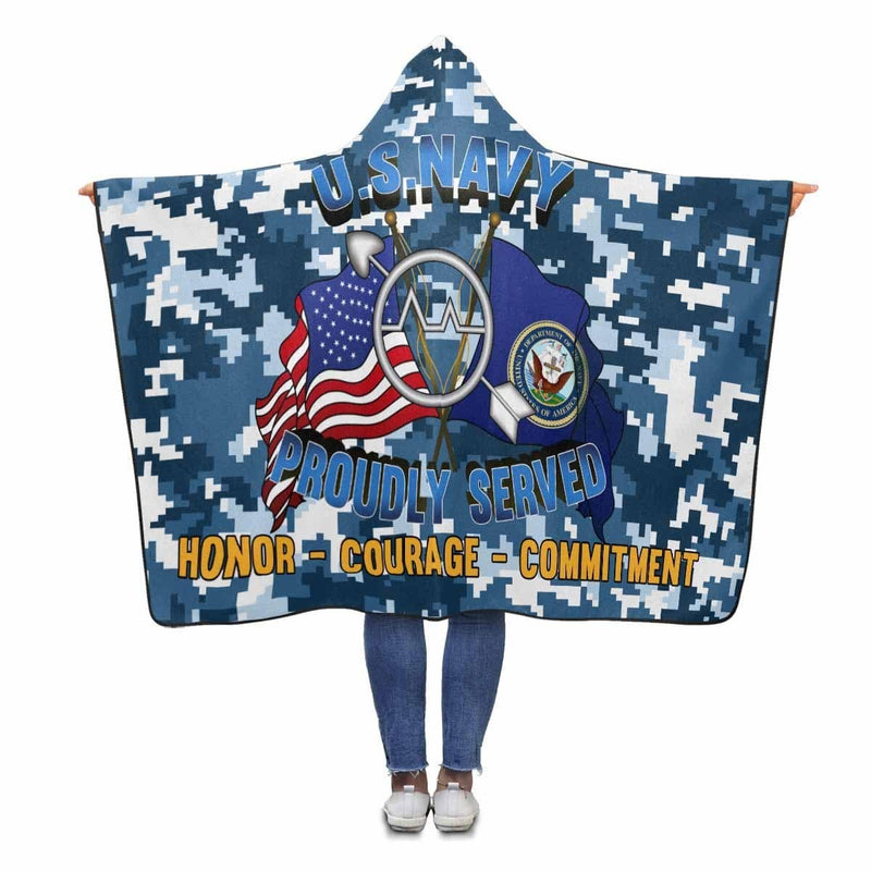 U.S Navy Operations specialist Navy OS Proudly Served Hooded Blanket
