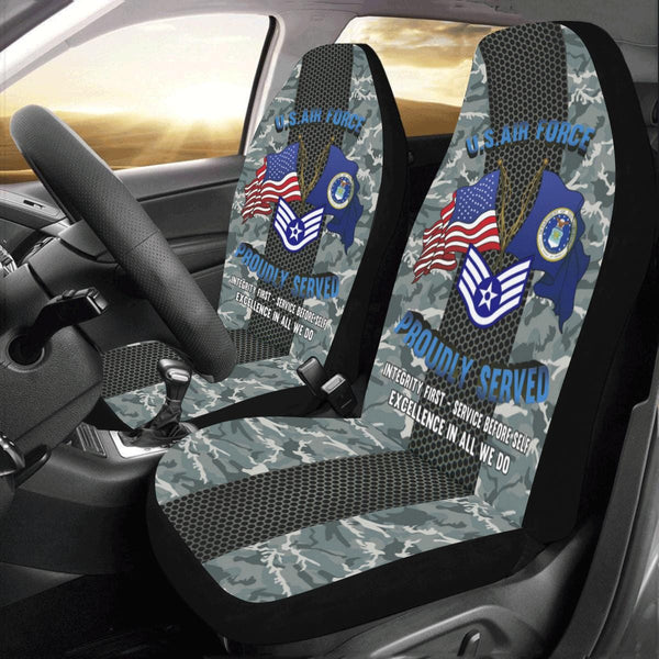 US Air Force E-5 Staff Sergeant SSgt E5 Noncommissioned Officer Car Seat Covers (Set of 2)