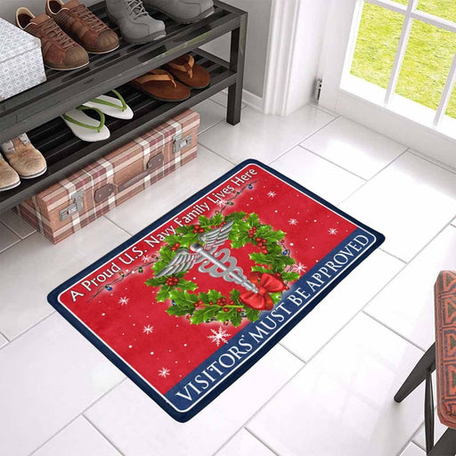 U.S Navy Hospital Corpsman Navy HM - Visitors must be approved - Christmas Doormat