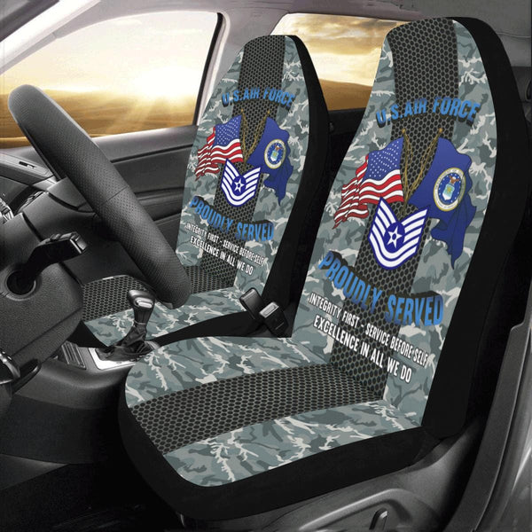 US Air Force E-6 Technical Sergeant TSgt E6 Noncommissioned Officer Car Seat Covers (Set of 2)