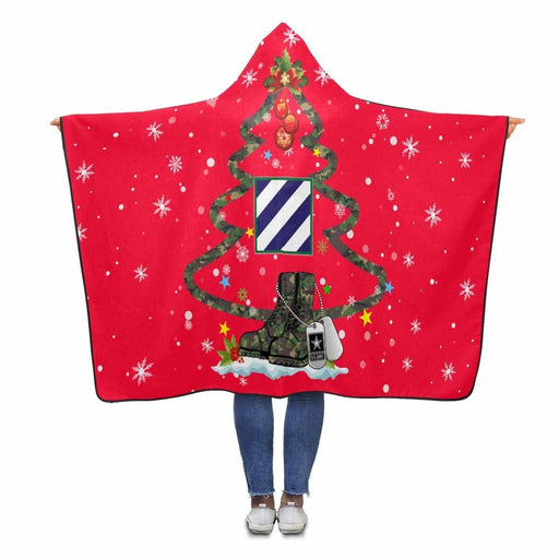 US Army 3rd Infantry Division, - Christmas Hooded Blanket