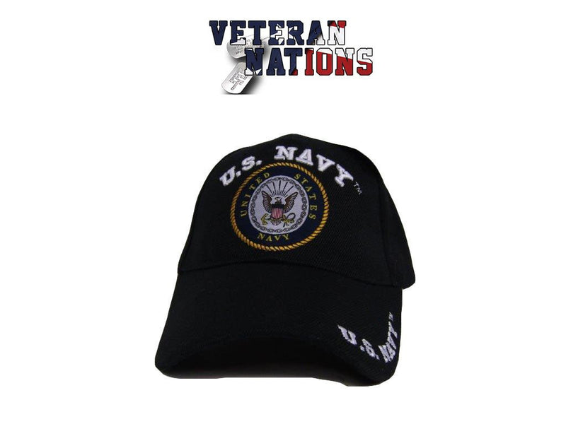 US Navy Logo Emblem Embroidered Men's Cap Hat, Black/Navy One Size