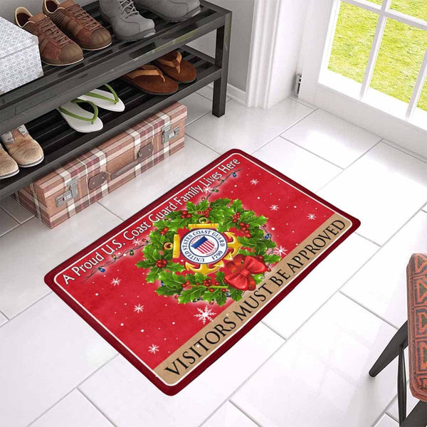 A Proud US Coast Guard Military Family Lives Here-Vistor must be approved Christmas Doormat