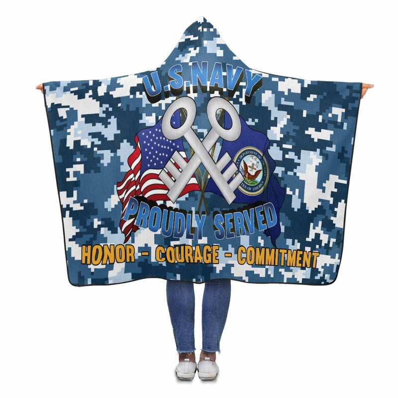 U.S Navy Logistics specialist Navy LS Proudly Served Hooded Blanket
