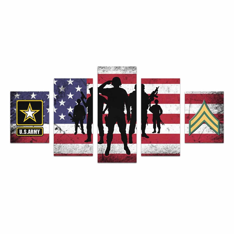 US Army E-4 Corporal E4 CPL Noncommissioned Officer  Canvas Art Prints Set Z (5 Pieces) (Made In USA)