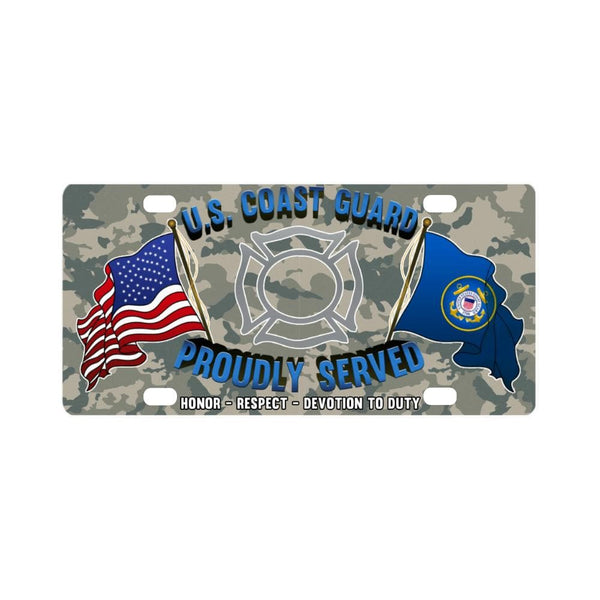 US Coast Guard Fire and Safety Specialist FF Logo- Classic License Plate