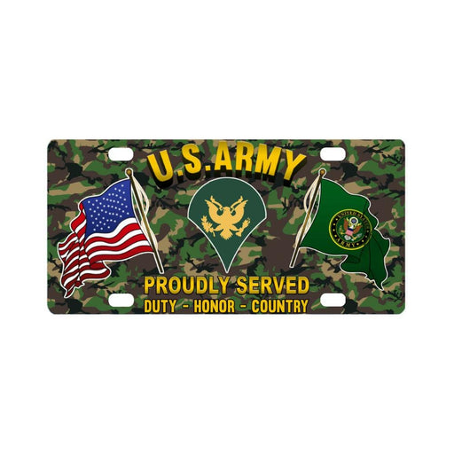 US Army E-4 SPC E4 Specialist RanksProudly Plate F Classic License Plate