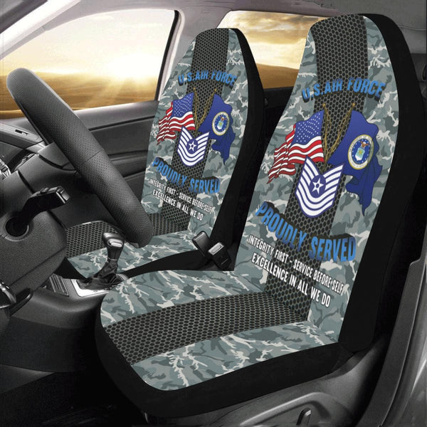 US Air Force E-7 Master Sergeant MSgt E7 Old Style - Car Seat Covers (Set of 2)