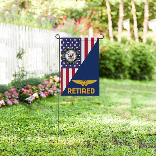 US Navy Naval Flight Officer Retired Garden Flag/Yard Flag 12 inches x 18 inches Twin-Side Printing