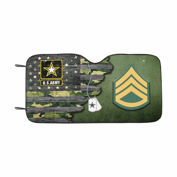 US Army E-6 Staff Sergeant E6 SSG Noncommissioned Officer Ranks  Auto Sun Shade 55 Inches x 29.53 Inches