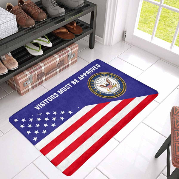 US Flag and US Navy Logo - Visitors Must Be Approved Doormat
