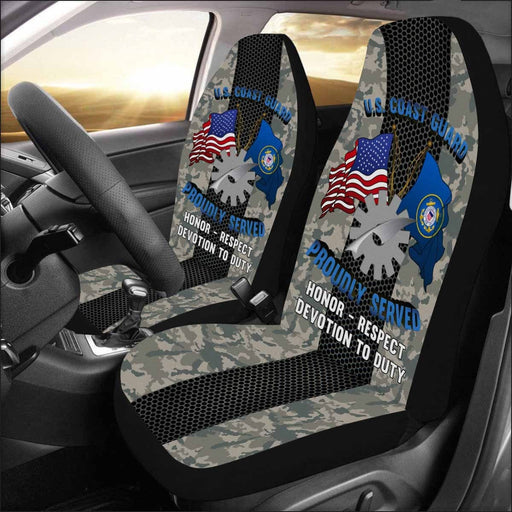 US Coast Guard Data Processing Technician DP Logo Proudly Served - Car Seat Covers (Set of 2)