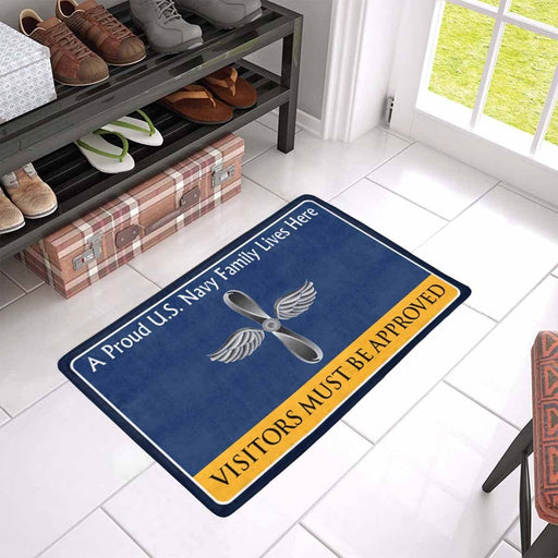 U.S Navy Aviation machinist's mate Navy AD Family Doormat - Visitors must be approved (23,6 inches x 15,7 inches)