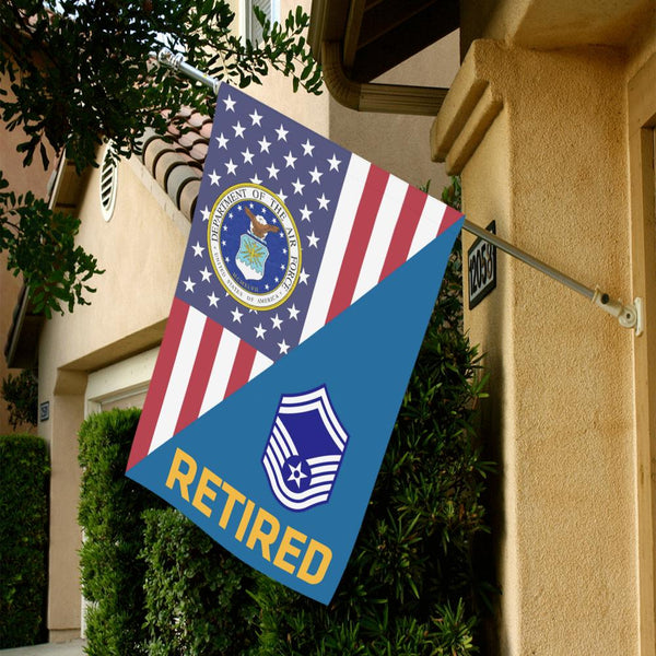 US Air Force E-8 Senior Master Sergeant SMSgt Retired House Flag 28 inches x 40 inches Twin-Side Printing