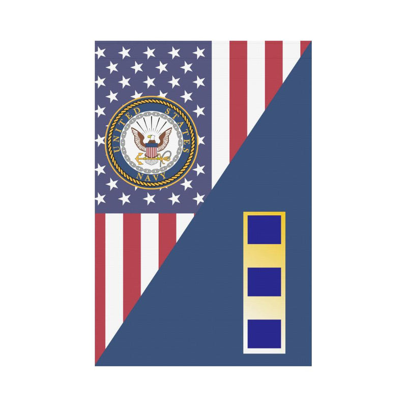 US Navy W-2 Chief Warrant Officer 2 W2 CW2 Garden Flag/Yard Flag 12 inches x 18 inches Twin-Side Printing