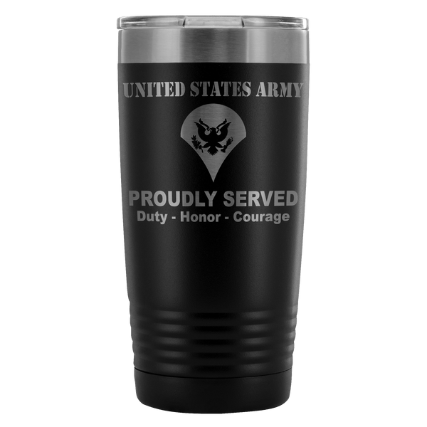 US Army E-4 SPC E4 Specialist Proudly Served - 20 Oz Ounce Vacuum Tumbler