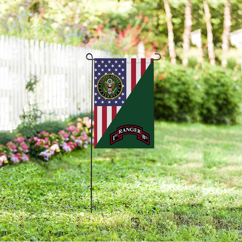 US ARMY 75 RANGER REGIMENT 1ST BATTALION Garden Flag/Yard Flag 12 inches x 18 inches Twin-Side Printing