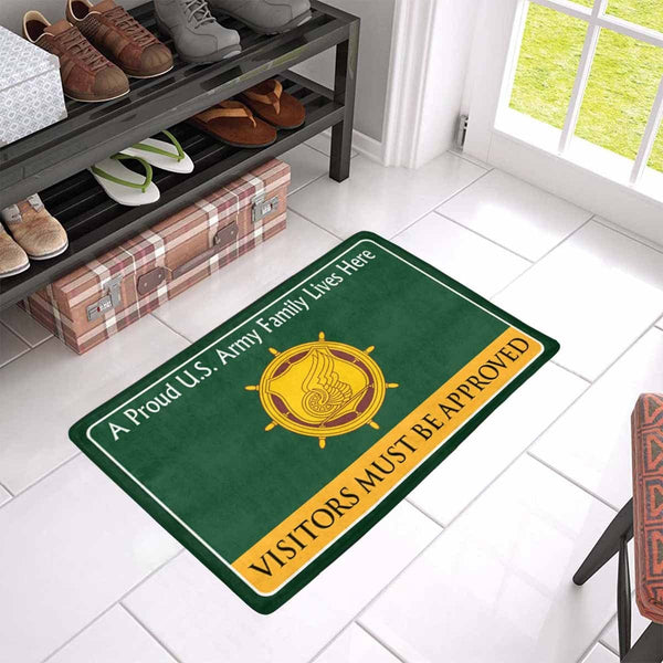 U.S. Army Transportation Corps Family Doormat - Visitors must be approved Doormat (23.6 inches x 15.7 inches)
