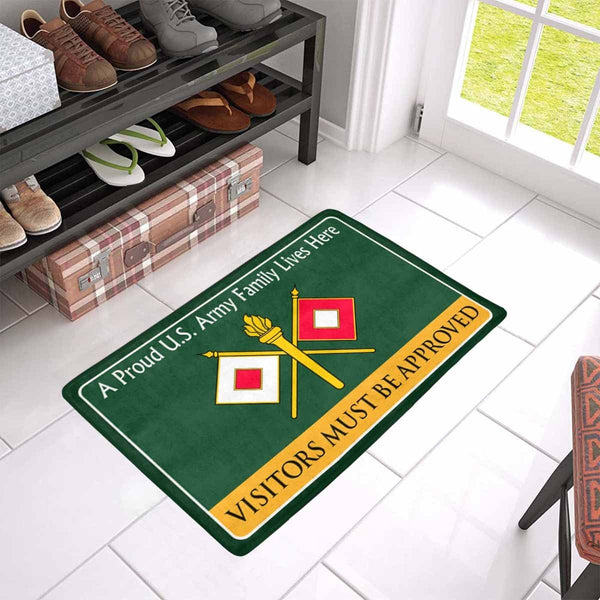 US Army Signal Corps Family Doormat - Visitors must be approved Doormat (23.6 inches x 15.7 inches)