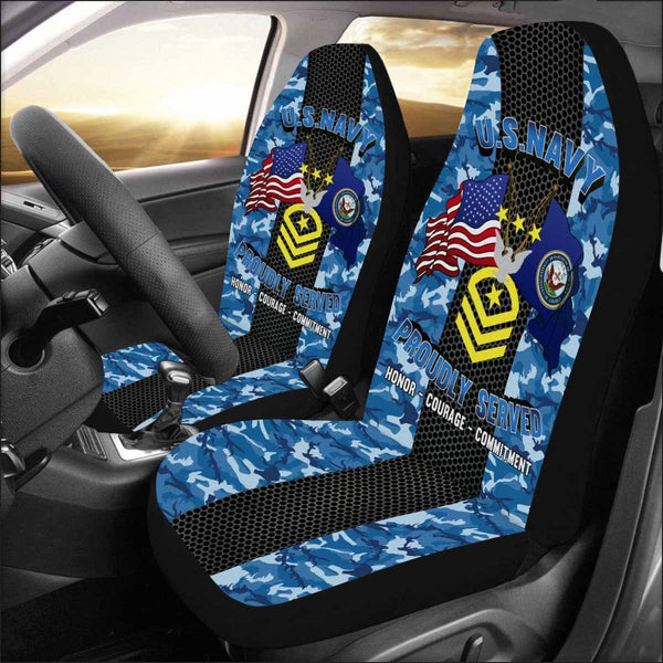 US Navy E-9 Master Chief Petty Officer Of The Navy E9 MCPON Collar Device Car Seat Covers (Set of 2)