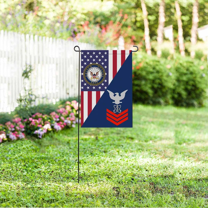 Navy Electronics Warfare Technician Navy EW E-6 Red Stripe  Garden Flag/Yard Flag 12 inches x 18 inches Twin-Side Printing