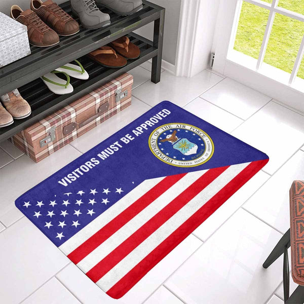 US Flag and US Air Force Logo - Visitors Must Be Approved Doormat