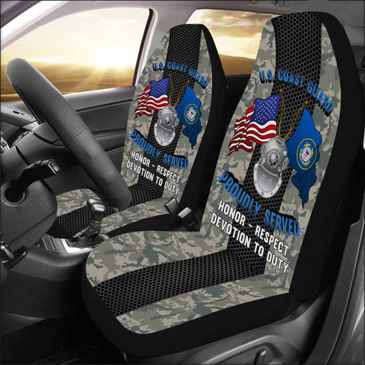 US Coast Guard Diver ND Logo Proudly Served - Car Seat Covers (Set of 2)