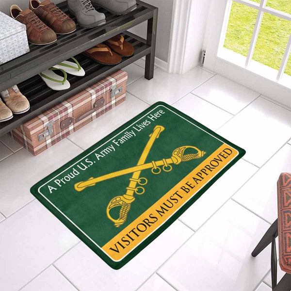 United States Cavalry Family Doormat - Visitors must be approved Doormat (23.6 inches x 15.7 inches)