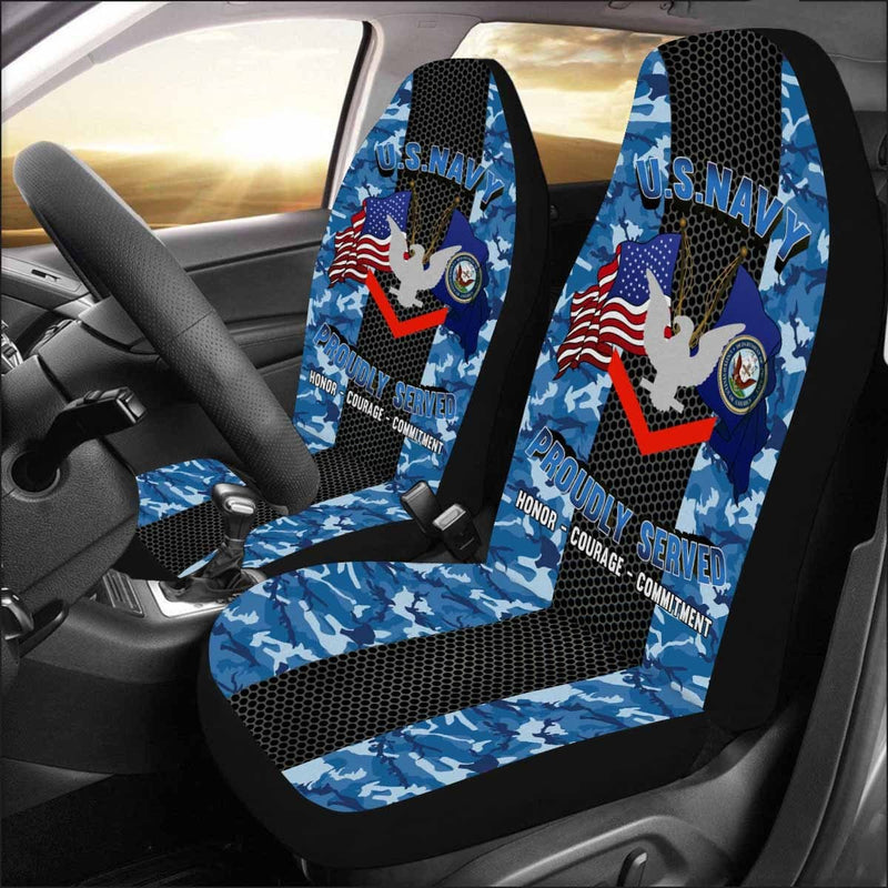 US Navy E-4 Petty Officer Third Class E4 PO3 Collar Device Car Seat Covers (Set of 2)