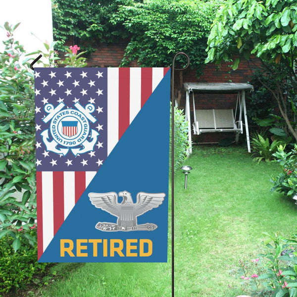 US Coast Guard O-6 Captain O6 CAPT Senior Officer Retired Garden Flag/Yard Flag 12 inches x 18 inches