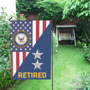 US Navy O-8 Rear Admiral O8 RADM Flag Officer Retired Garden Flag/Yard Flag 12 inches x 18 inches Twin-Side Printing