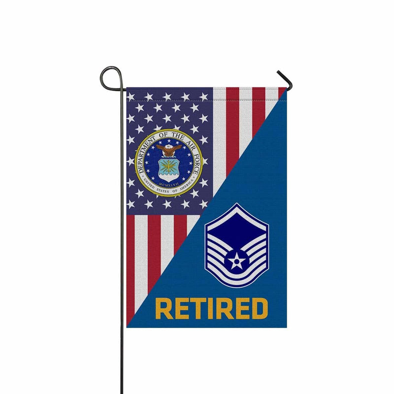 US Air Force E-7 Master Sergeant MSgt E7 Noncommissioned Officer Retired Garden Flag/Yard Flag 12 inches x 18 inches Twin-Side Printing