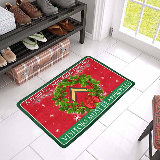 US Army E-2 PV2 E2 Private Second Class Ranks - Visitors must be approved Christmas Doormat