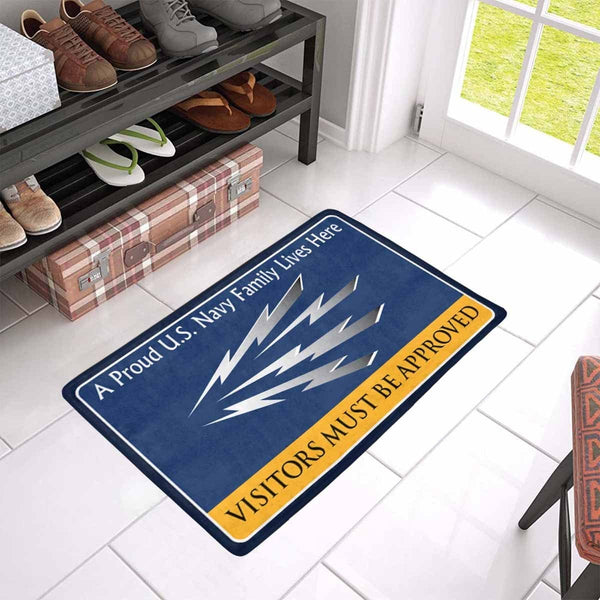 U.S Navy Radioman Navy RM Family Doormat - Visitors must be approved (23,6 inches x 15,7 inches)