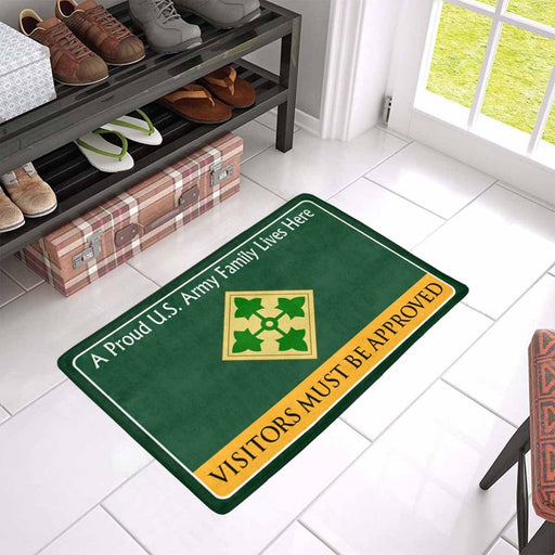 US Army 4th Infantry Division Family Doormat - Visitors must be approved Doormat (23.6 inches x 15.7 inches)