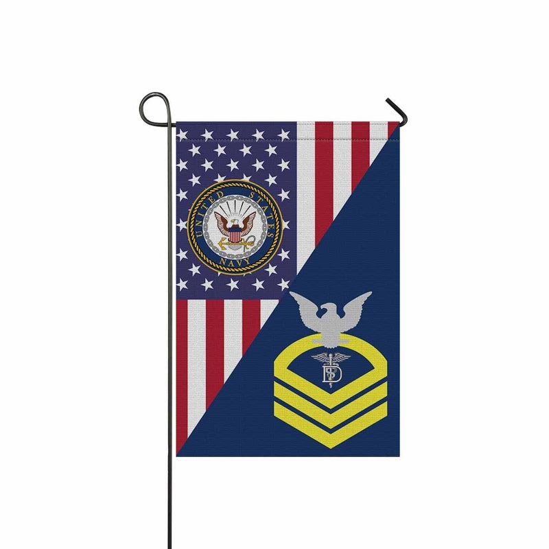 US Navy Dental Technician Navy DT E-7 CPO Chief Petty Officer Garden Flag/Yard Flag 12 inches x 18 inches Twin-Side Printing